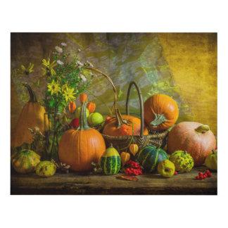 Halloween Autumn Fall Pumpkin Setting Table Wood Wall Art