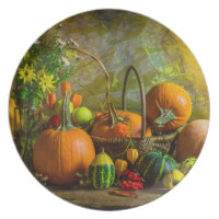 Halloween Autumn Fall Pumpkin Setting Table Melamine Plate
