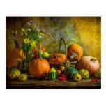 Halloween Autumn Fall Pumpkin Setting Table Postcard