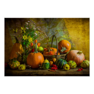 Halloween Autumn Fall Pumpkin Setting Table Poster