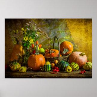 Halloween Autumn Fall Pumpkin Setting Table Poster