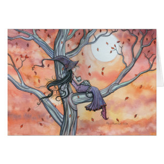 Halloween Autumn Witch Cat Card