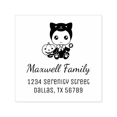 Halloween Baby Black Cat Costume Family Address Self_inking Stamp