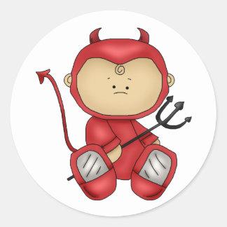 Halloween baby devil round stickers