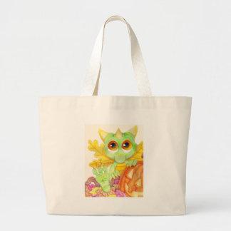 Halloween Baby Dragon Fairy Pumpkin Jack O Lantern Large Tote Bag