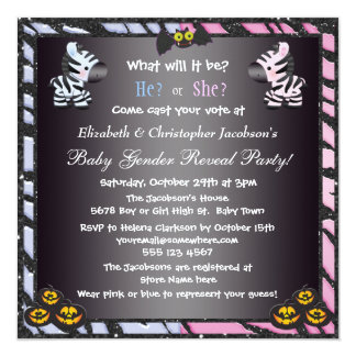 Halloween Baby Gender Reveal Zebras & Pumpkins 5.25x5.25 Square Paper Invitation Card
