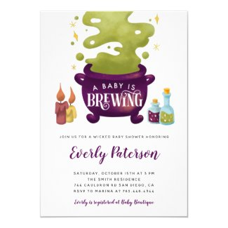 Baby Is Brewing Halloween Baby Shower Invitations Witch