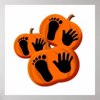 Halloween Baby Pumpkin Prints Poster