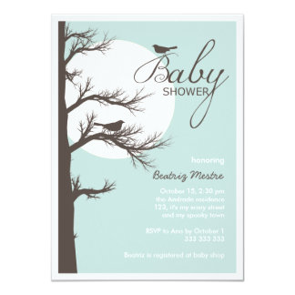 Halloween Baby Shower Blue Brown Bird Tree Moon Card