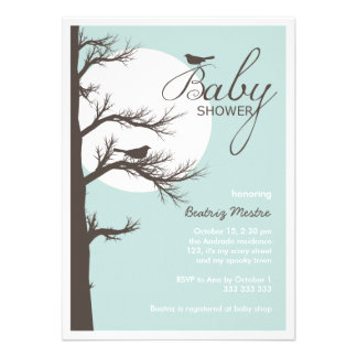 Halloween Baby Shower Blue Brown Bird Tree Moon Personalized Invitations