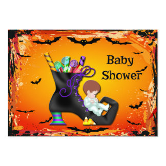 Halloween Baby Shower Boy on Candy Witch Boot Card