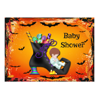Halloween Baby Shower Boy on Candy Witch Boot Personalized Announcement