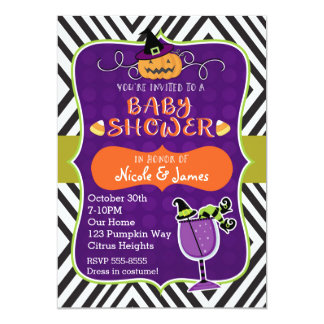 Halloween BABY SHOWER Cute Modern Invitation