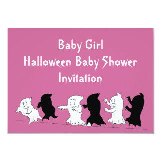 Halloween Baby Shower Ghost Invitations - Girl