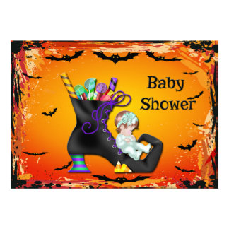 Halloween Baby Shower Girl on Candy Witch Boot Custom Announcement