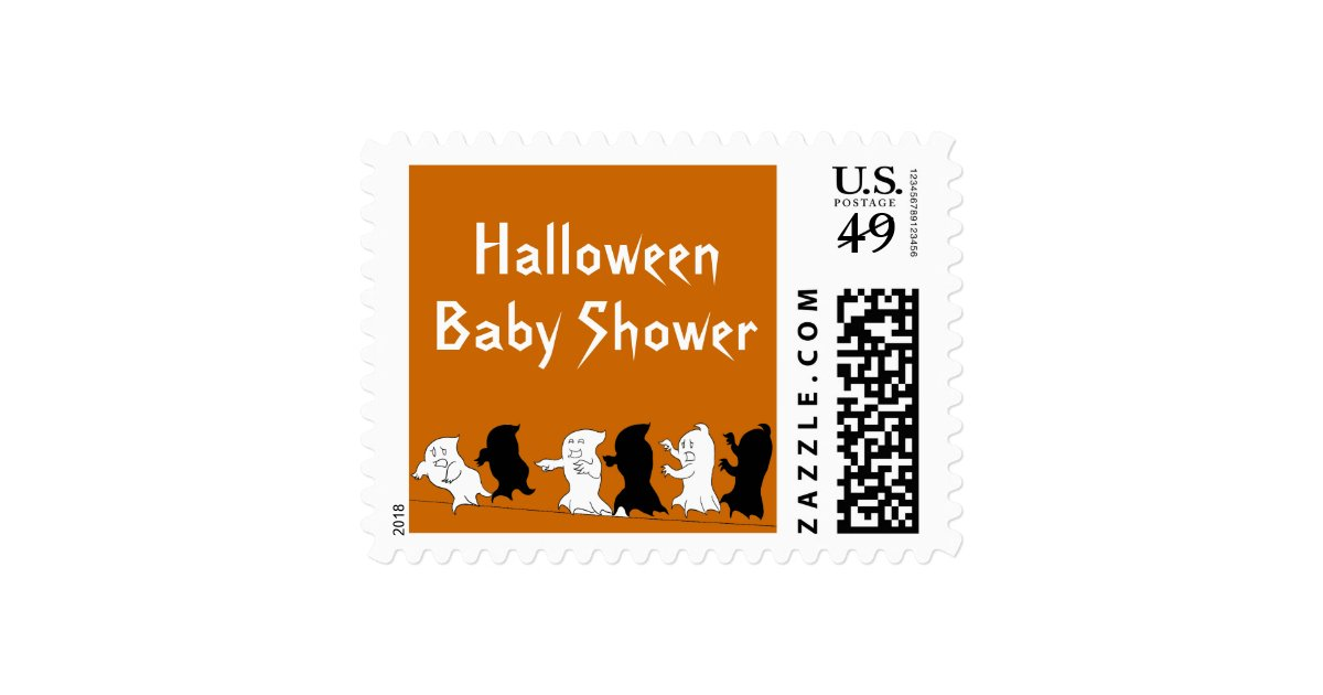 halloween baby shower postage stamps orange zazzle
