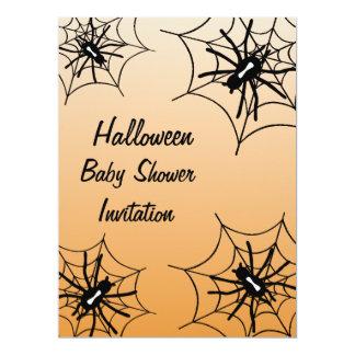 Halloween Baby Shower Spider Invitations - Orange