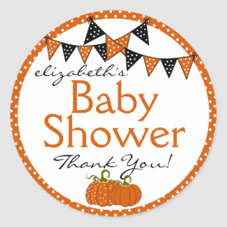 Halloween-Baby Shower Thank You Round Stickers