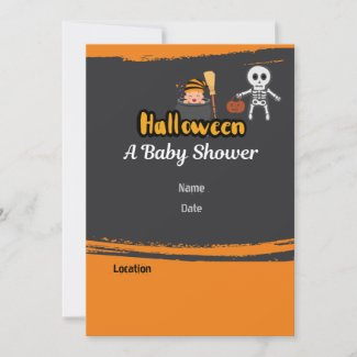 Halloween Baby Shower with skeleton and pumpkin Invitation