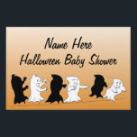 """Halloween Baby Shower Yard Signs - Orange<br><div class=""""desc"""">This adorable personalized Halloween baby shower yard sign offers three cute ghosts running away from their own shadows as the main image on the yard sign. Great for letting all your baby shower guests know that they&#39;ve found the right place.</div>"""