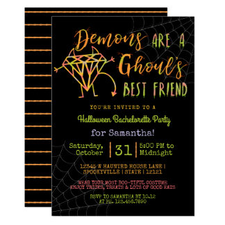 Halloween Bachelorette Party | Funny Demons Ghouls Card