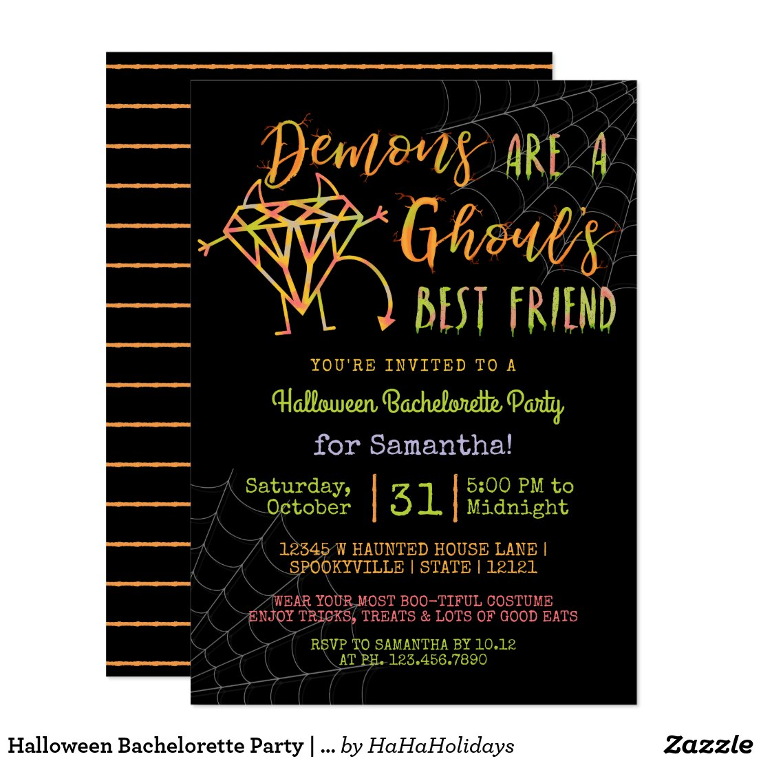 Halloween Bachelorette Party | Funny Demons Ghouls Invitation
