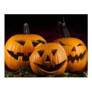 Halloween Background With Pumpkins In The Grass Postcard