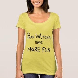 Halloween Bad Witch More Fun Ladies Gold Shirt