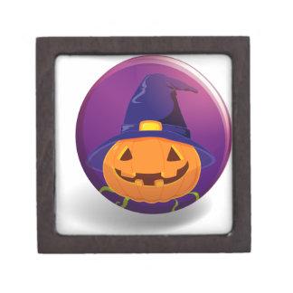 Halloween badge with pumpkin wearing witch hat premium keepsake box