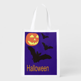 Halloween Bag with Bats and a Jack O' Lantern Market Tote