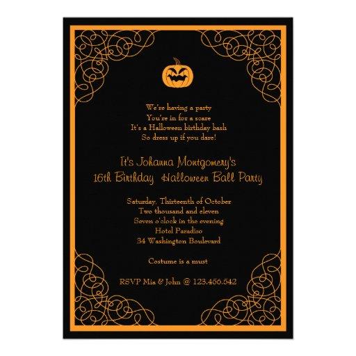 Halloween Ball Birthday Costume Party Invitation