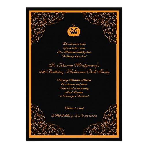 Halloween Ball Costume Party Invitation