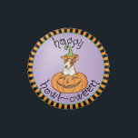 """Halloween Basenji Jelly Belly Tin<br><div class=""""desc"""">Have a howling good party celebrating Halloween with your Basenji puppy in a smiling Jack-o-Lantern. Happy HOWL-oween!</div>"""