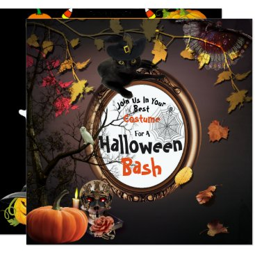 Halloween Themed Halloween Bash Black Cats Pumpkins Invitation