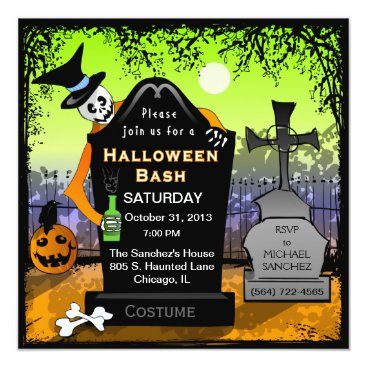 Halloween Themed Halloween Bash Graveyard Invitation