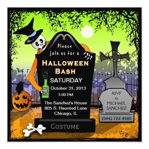 Halloween Bash Graveyard Invitation