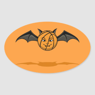 Halloween Basketball Vampire Bat Oval Sticker