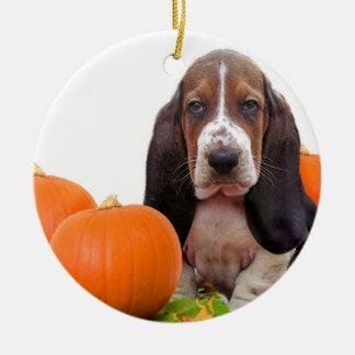 Halloween Basset Hound Adorno Navideño Redondo De Cerámica