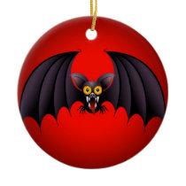 Halloween Bat Cartoon Ceramic Ornament