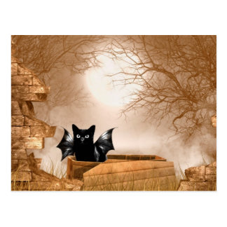 Halloween bat cat postcard