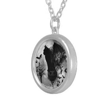 Halloween Themed Halloween Bat Cat Silver Necklace