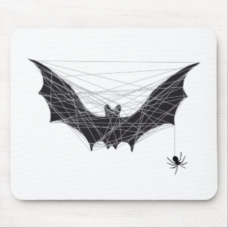 Halloween bat design with spider net mouse pad