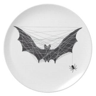 Halloween bat design with spider net party plates