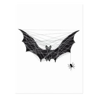 Halloween bat design with spider net postcard