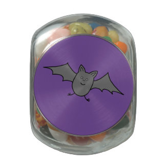 Halloween Bat Glass Candy Jar