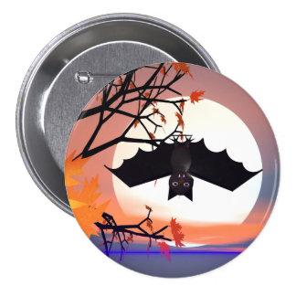 Halloween Bat in Tree 3 Inch Round Button