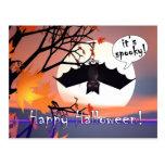 Halloween Bat in Tree Post Card