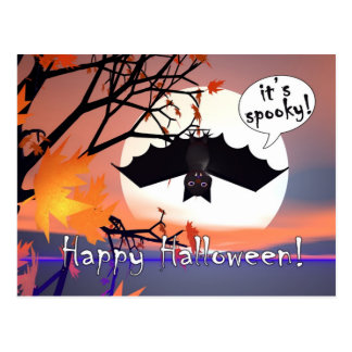 Halloween Bat in Tree Postcard