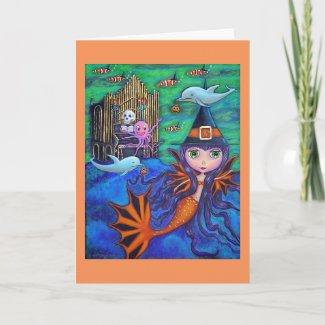 Halloween Bat Mermaid Witch Dolphins Octopus Organ Card