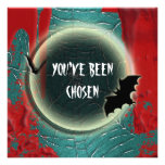 Halloween bat moon red black blue custom invitations